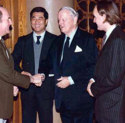 Peter Po, Sir John Keswick and David Mathew greeting foreign dignitaries at one of their huge Beijing banquets in the early Eighties