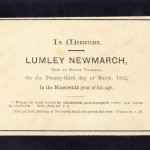 In Memoriam notice for Lumley Newmarch