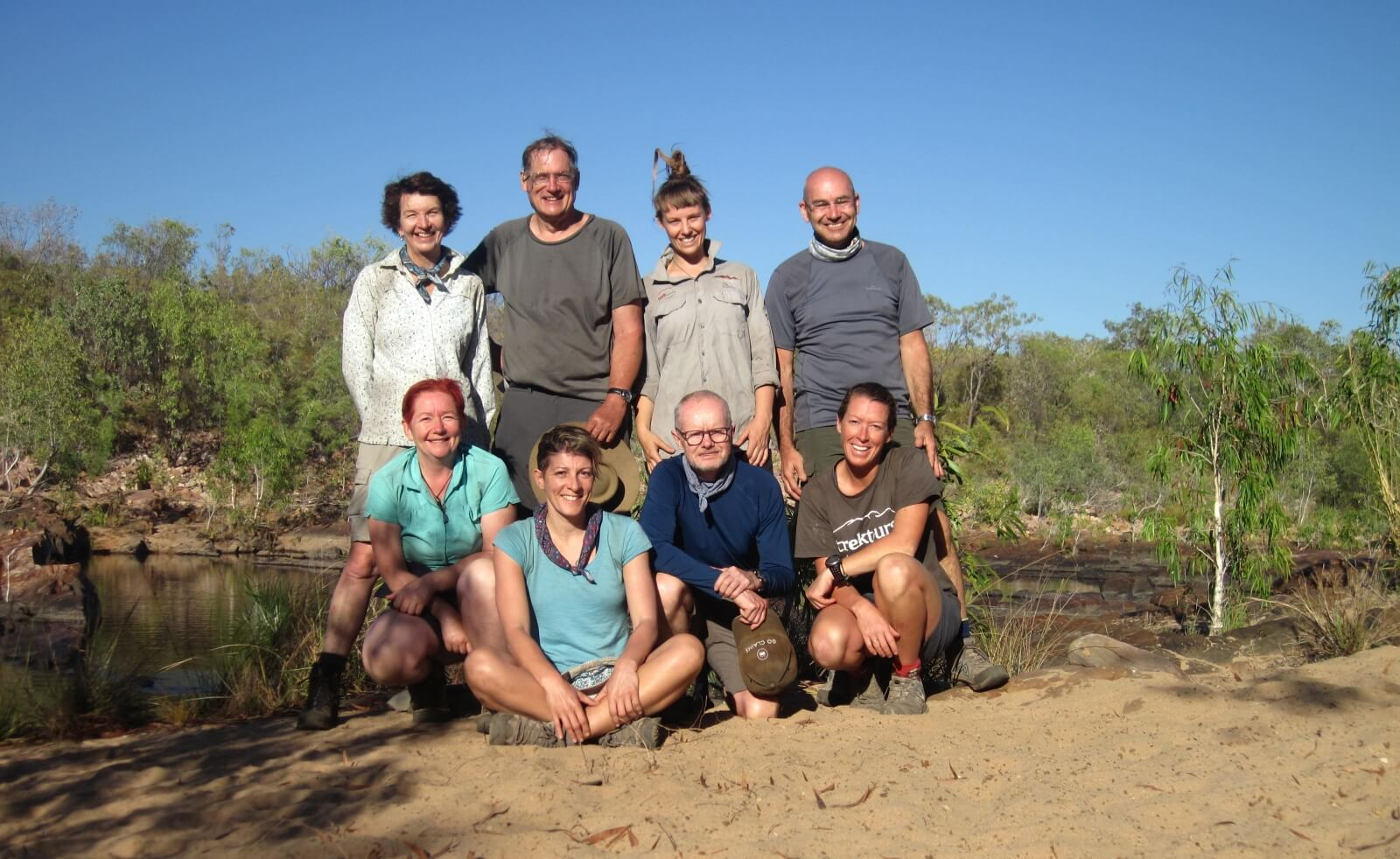 Companions on the trail: (top l to r) Lucy, Adam, Stella, Darrell (bottom l to r) Sue Ellen, Michelle, Alan, Kate