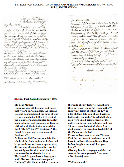 Letter from William John Sawdon Newmarch to his mother during the Zulu War