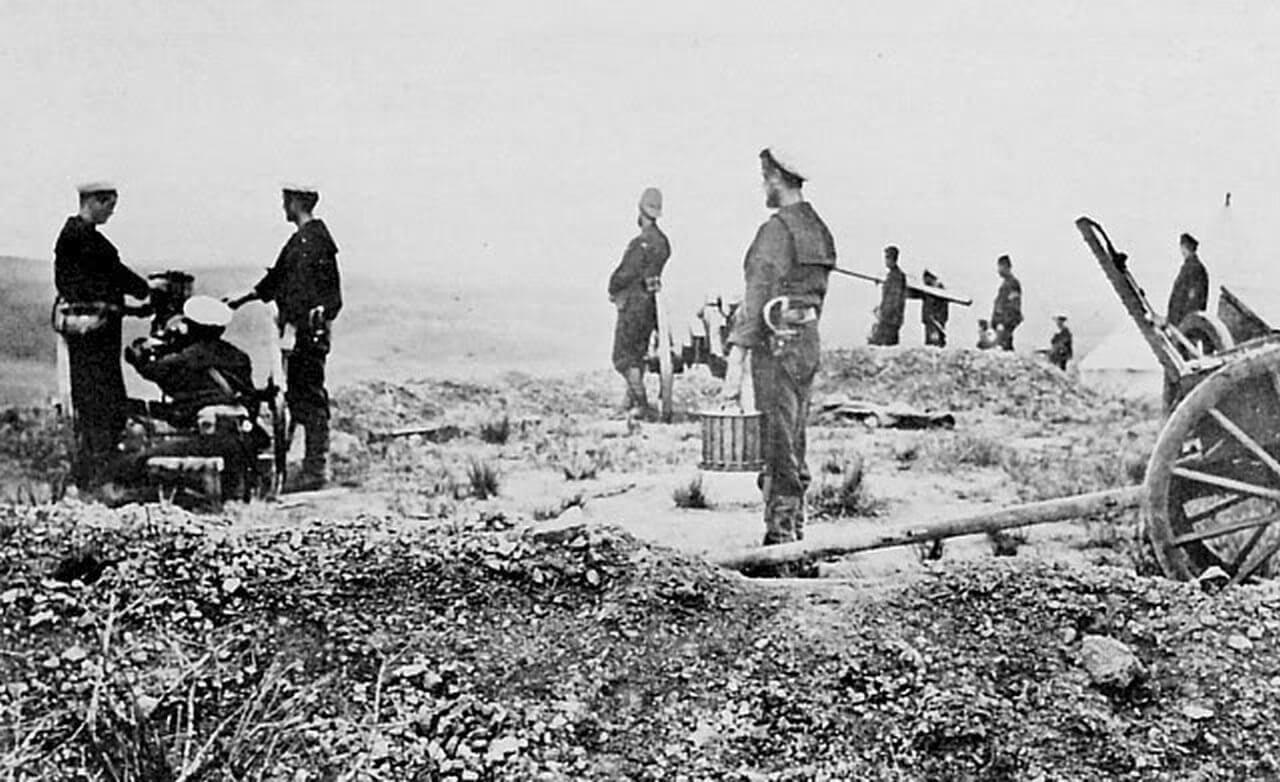 Firing across the Tugela River from Fort Pearson, January 1879